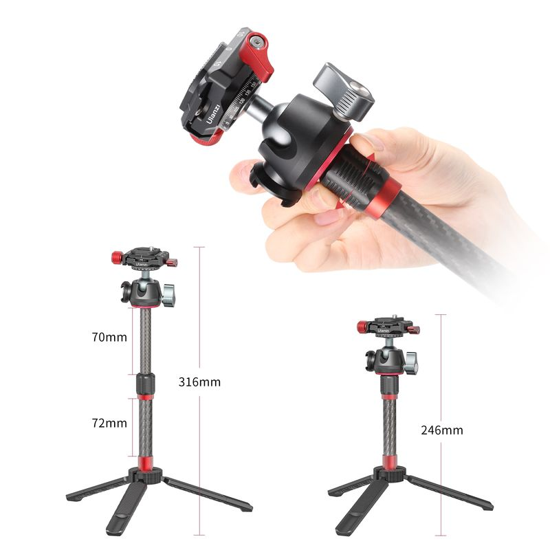 Ulanzi MT-43 Reflex Tripod Monopod With 360° Ball head Extendable Tripod Sider Cold Shoe Quick Release Plate for DSLR Camera enlarge