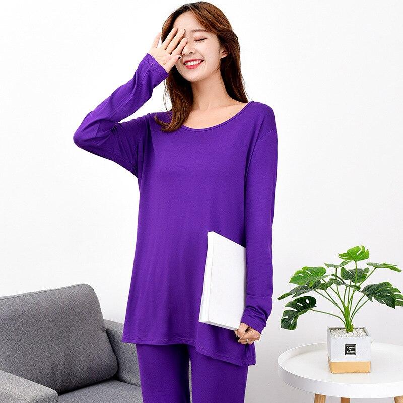 7xl plus size modal feminino alta elasticidade pijamas terno manga longa pijamas pijamas solto fino casa wear 2 pçs camisola