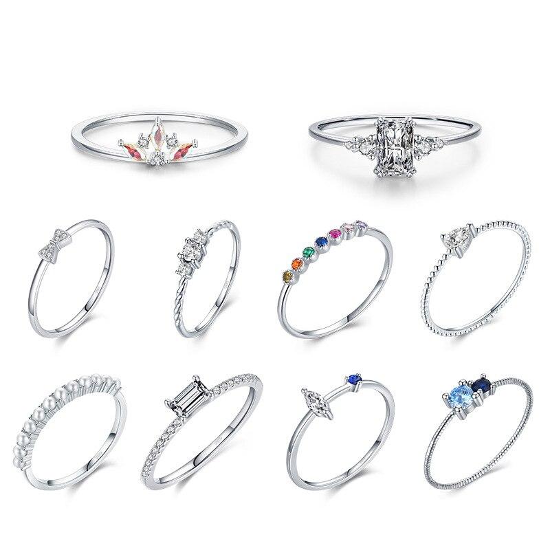 Реальное-искусственное-серебро-Простые-Красочные-циркониевые-кольца-тонкое-геометрическое-кольцо-штабелируемое-кольцо-на-палец-Изящны