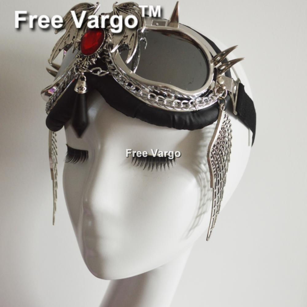 Holográfico Rave Streampunk Burning hombre Punk ala diablo Festival disfraz ciber Goth gafas máscara de Mascarada para mujeres