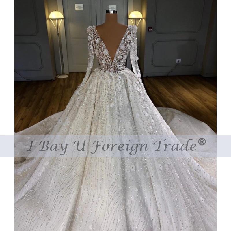 Luxury Ruffle Shoulder V Neck Wedding Dress 2021 3D Flower Sexy Full Beading Bridal Ball Gown Long Sleeve Vestido De Noiva