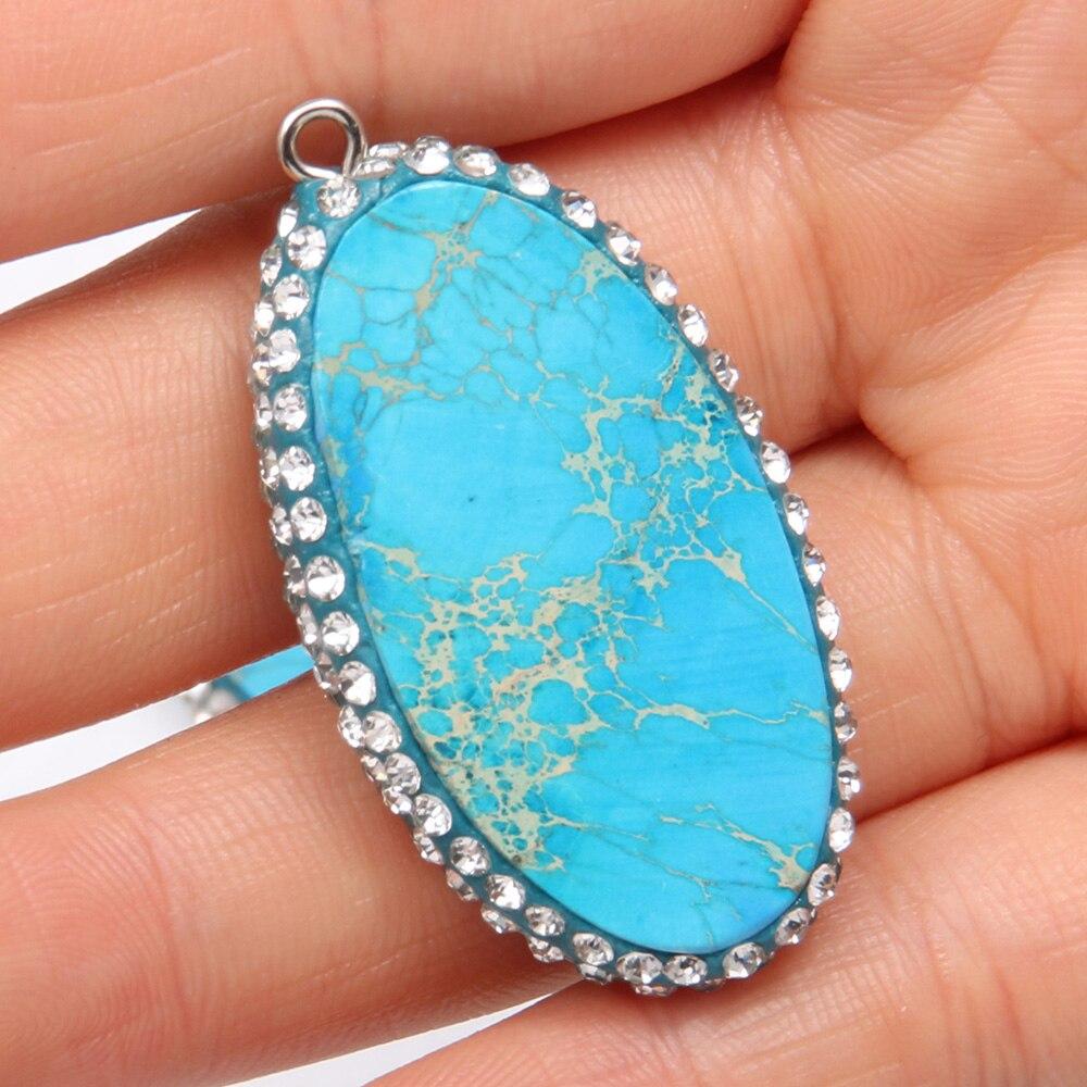 Colgantes de piedra Natural en forma de huevo, piedra azul emperador para hacer joyas, collar, accesorios, dijes, regalo para mujeres, tamaño 22x40mm