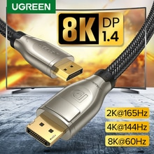 Ugreen DisplayPort 1,4 Cable 8 K 4 K HDR 165Hz 60Hz adaptador de puerto de pantalla para ordenador portátil de vídeo TV DP 1,4 1,2 pantalla vPort 1,2 Cable