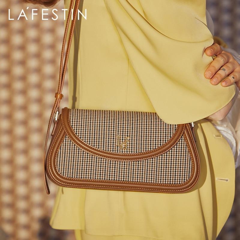 LAFESTIN 2020 new trendy ladies fashion retro one-shoulder messenger bag plaid underarm handbags for women 2021 crossbody bags