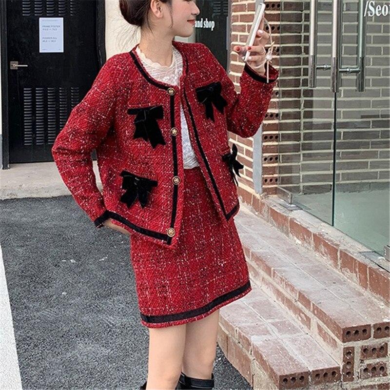 CBAFU الخريف الشتاء قطعتين مجموعة النساء تويد الصوف الأحمر منقوشة تنورة دعوى طويلة الأكمام سترة معطف مجموعة ألف خط تنورة صغيرة القوس N695