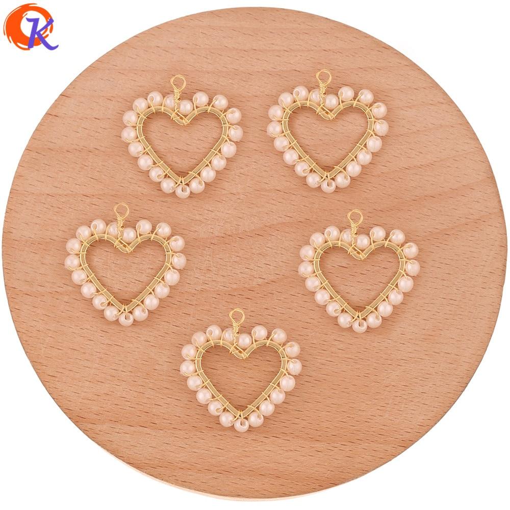 Cordial Design 30 Uds 24*24MM accesorios de joyería/imitación perla/forma de corazón/oro auténtico chapado/hecho a mano/encantos/bricolaje