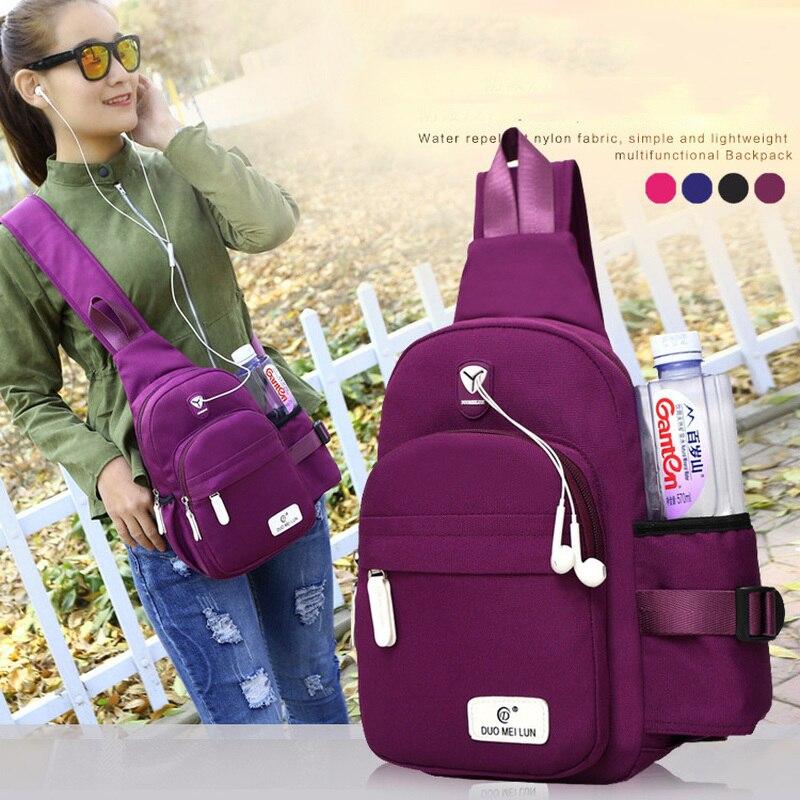 2020 New Women Backpack Messenger Bag Handbag Elegant Simple Storage Pocket Outdoor Sports Nylon Shoulder Earphone Hole Pack