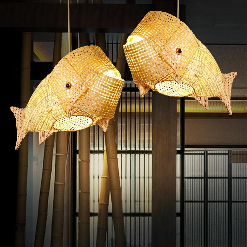 Carp lamp bamboo and wood chandelier, suitable for lighting, restaurant, garden, dining room, living room, manual chandelier