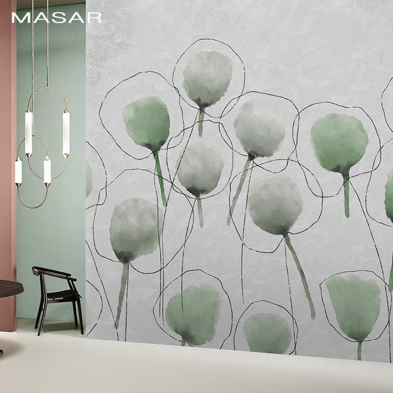 MASAR dibujos animados planta flor mural personalizado tinta color Fondo pared papel dormitorio niños papel tapiz flor bola
