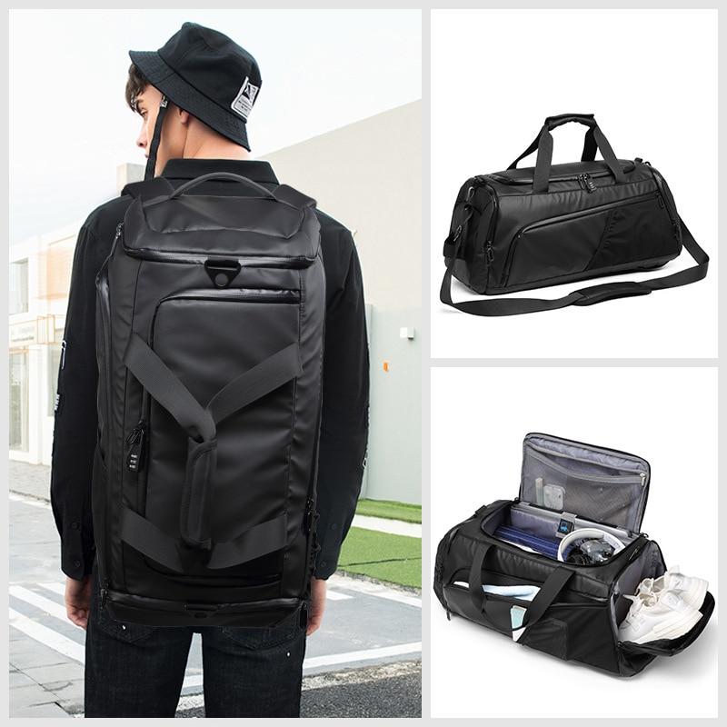 XC Men Gym Bag Large Travel Training Fitness Workout Sports Bag Backpack Waterproof Dry Wet Shoulder Laptop Bag 52x20x20cm T8839