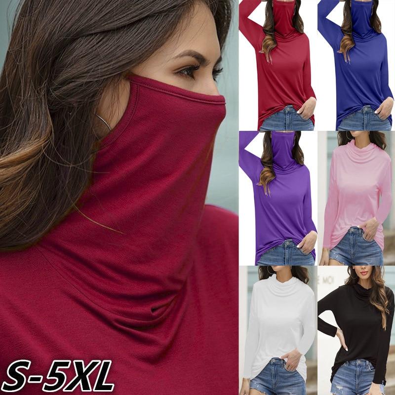 Multifuncional máscara de poeira gola alta camiseta feminina sólido casual fino manga comprida t primavera outono novo preto rosa plus size 5xl