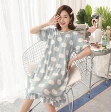 Большие размеры d, Свободная Женская одежда для сна с героями мультфильмов, тонкая ночная рубашка с короткими рукавами и фруктами, ночная ру...