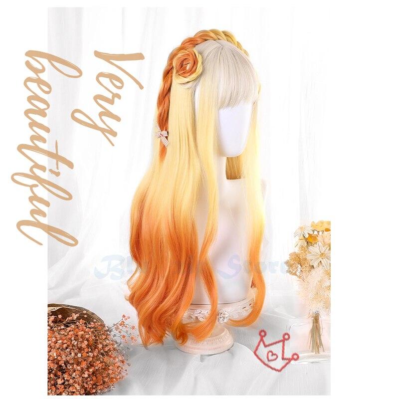 Gradient Beige Yellow Orange Lolita Wig Women Harajuku 60cm Long Curly Wavy Hair Cute Bangs Adult Chic Girls Cosplay Daily Wear