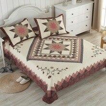 Patchwork couvre-lits ensemble de couette 3 pièces coton courtepointes à la main couvre-lit taie doreiller Super roi reine taille Vintage matelassé couvertures