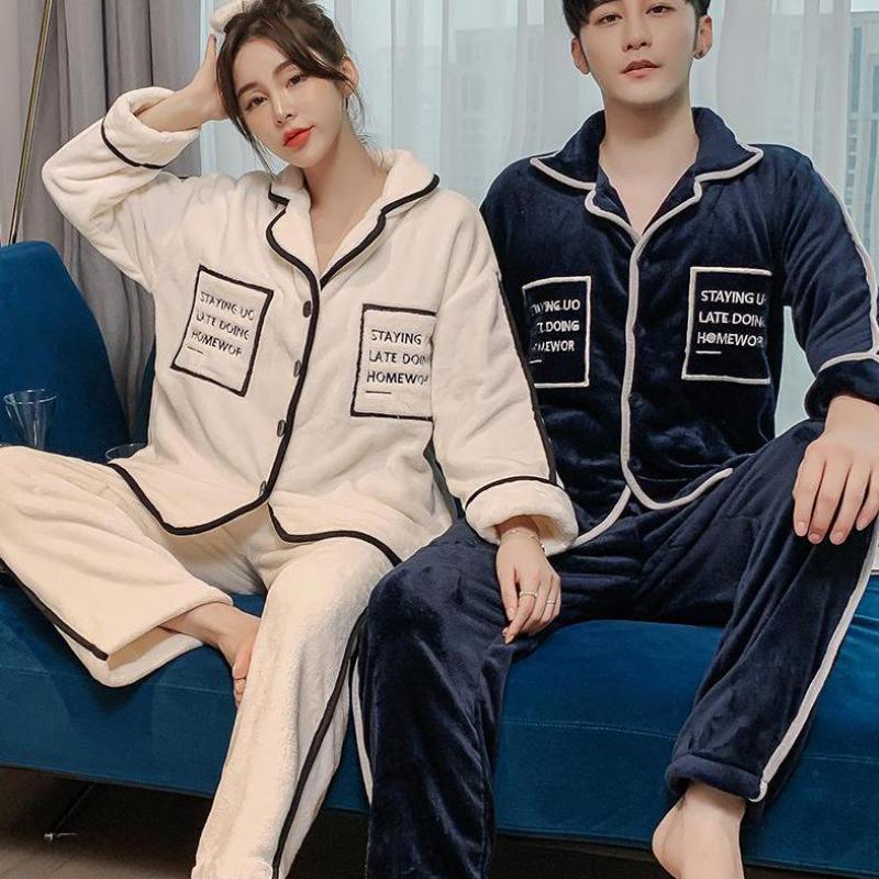 Пижамный костюм для пар, женская одежда для сна, зимнее утепленное нижнее белье, повседневная мягкая одежда для сна, Осеннее теплое интимное...