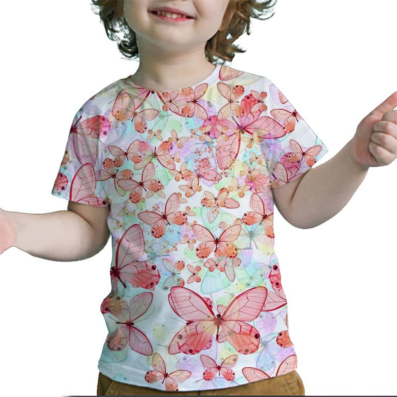Летняя Детская Яркая милая футболка с 3D принтом бабочки и цветов, красочная футболка для девочек, детские футболки, топы, футболка для малыш...