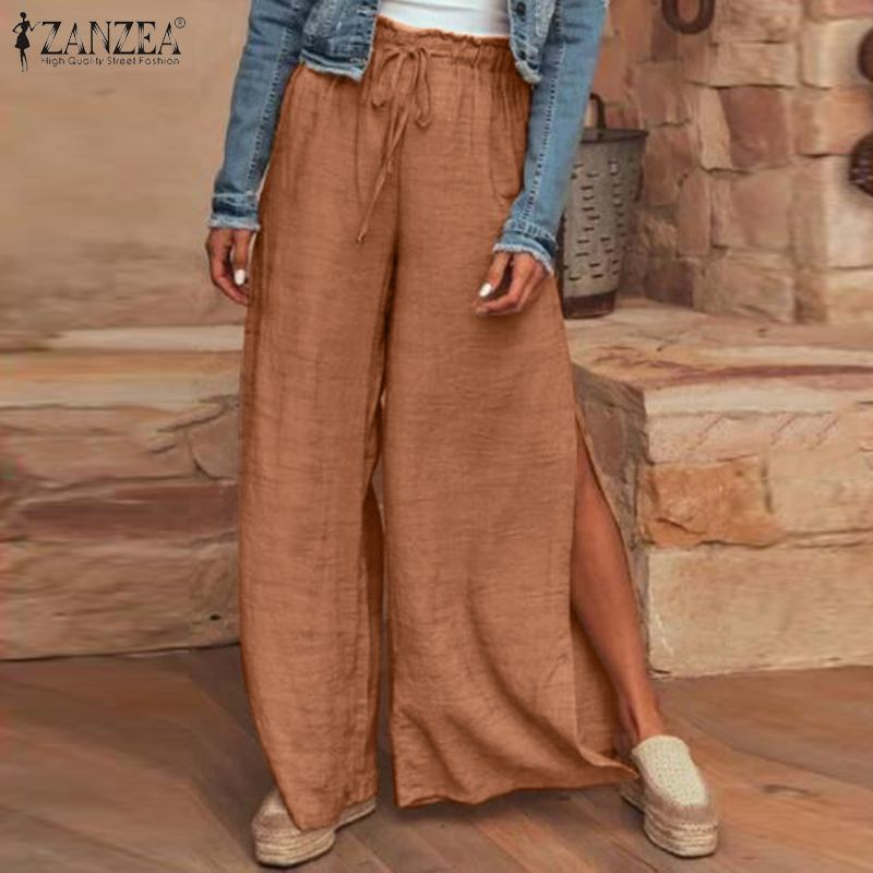 Moda de verano 2020, pantalón de pierna ancha liso abierto, pantalones largos informales ZANZEA para mujer, caftán femenino con cintura alta elástica para fiesta