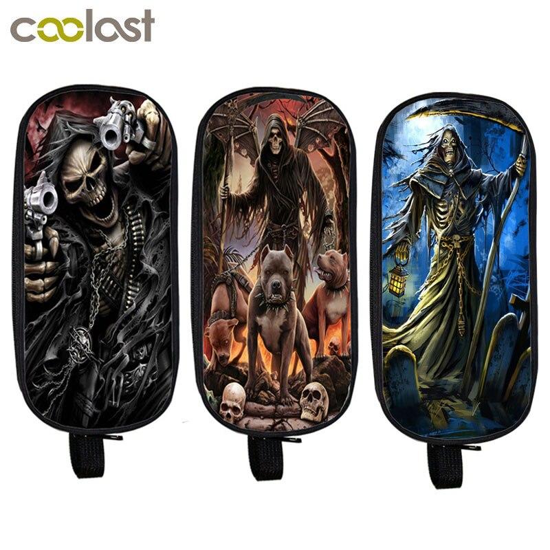 Cool Death Skull Cosmetic Cases Pencil Holder Kids Bag Boys Girls Azrael Grim Reaper Case School Cases Children Makeup Bags