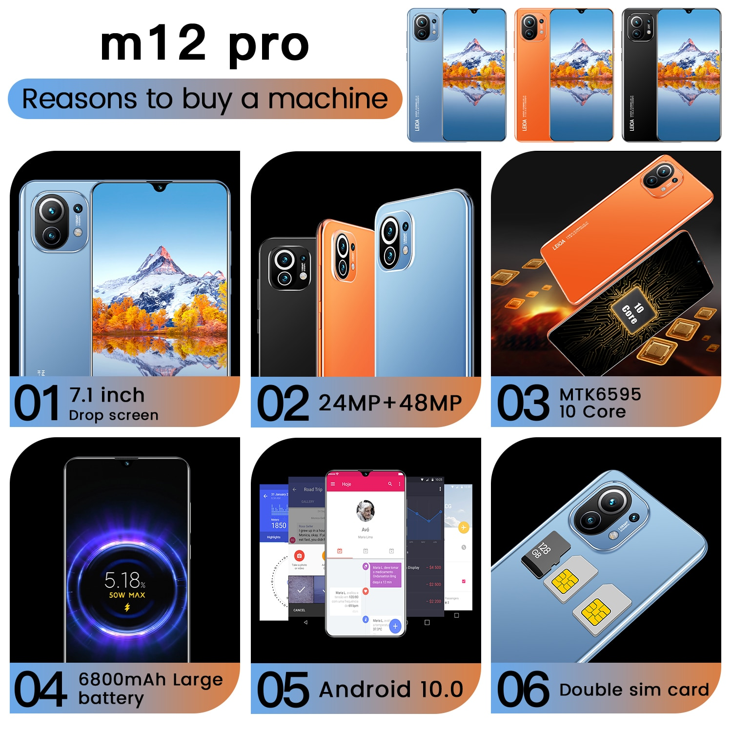 Global Version M12 Pro cellphone Android 10.0 16GB+512GB Dual Sim Unlocked Mobile Phone 7.1 Inch HD screen MTK 6889 Deca Core enlarge