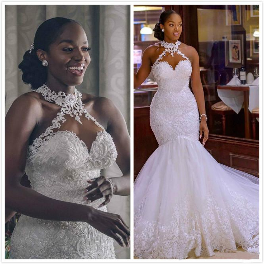 2020 Arabic Aso Ebi Vintage Lace Beaded Wedding Dresses Sheer Neck Mermaid Bridal Dresses  Cheap Wedding Gowns