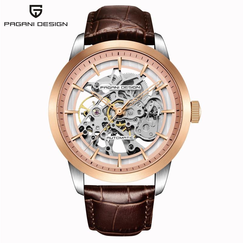 PAGANI DESIGN-ساعة رجالية ميكانيكية ، هيكل عظمي ، جلد ، ساعة ، ذكر