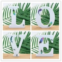 1 piece 10x10 cm handmade animal shape wedding feather wooden letters decoration letters word letter diy name design crafts
