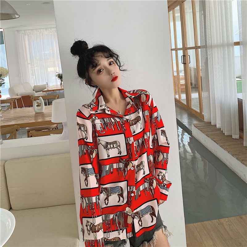 Vintage Print Women'S Blouses 2021 Spring Autumn Long Sleeves Shirts Fashion Casual Cardigan Female Top блузка женская