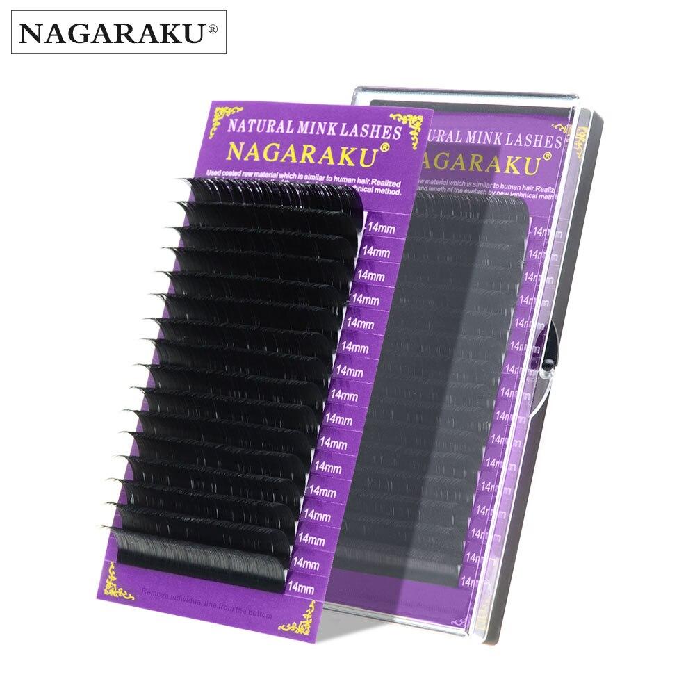 NAGARAKU-extensiones de pestaña de visón falso, extensiones individuales de pestañas, 16 filas/caja, 0,05mm, útiles de maquillaje, visón de primera calidad, todos los tamaños