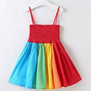 Летнее Радужное платье принцессы для девочек, элегантные Детские костюмы для рождественской вечеринки, детская одежда на день рождения, де...