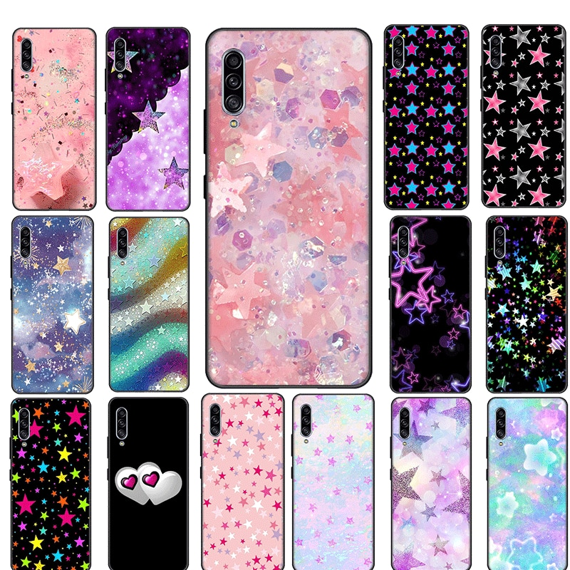 Pink Glitter Star Silicon TPU Cover For Samsung S6 S7 Edge S8 S9 S10 S20 Plus S10E S10 S20 Lite S20