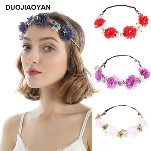 DUOJIAOYAN Autumn and Winter Fashion Ladies Handmade Flowers Multicolor Wreath Party Wedding Bridal Wreath