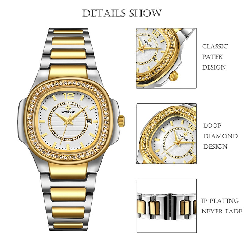 WWOOR Ladies Wrist Watches 2020 Pink Watch Women Top Brand Luxury Crystal Women Quartz Square Watch Waterproof Montre Femme Gift enlarge