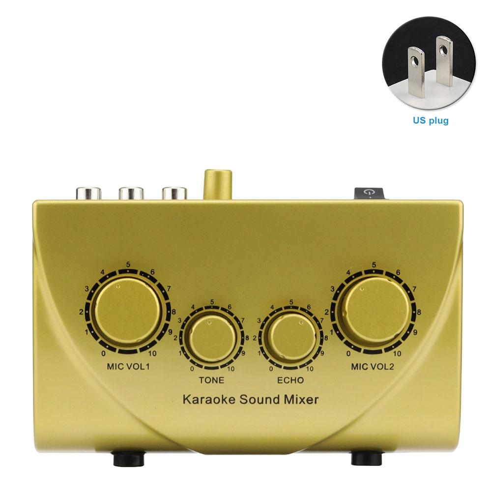 Profissional mini console karaoke máquina sistema de áudio portátil dispositivos misturador som digital som 2 plugues