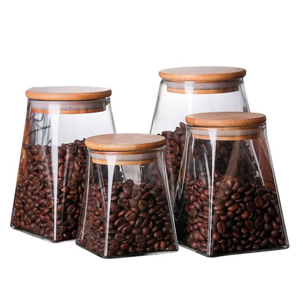 Frasco de vidrio con tapa de bambú, tarros de almacenamiento, recipiente para almacenar comida, recipientes para café, granos de azúcar, galletas de azúcar, sal de harina