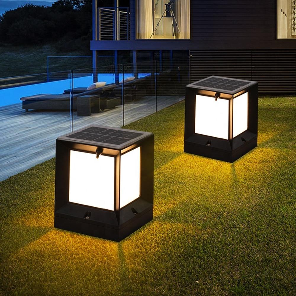 Solar LED Pillar Lights Post Lamps Outdoor Wall Light Control Garden Lamp Simple Modern Villa Gate Waterproof Solar Light enlarge