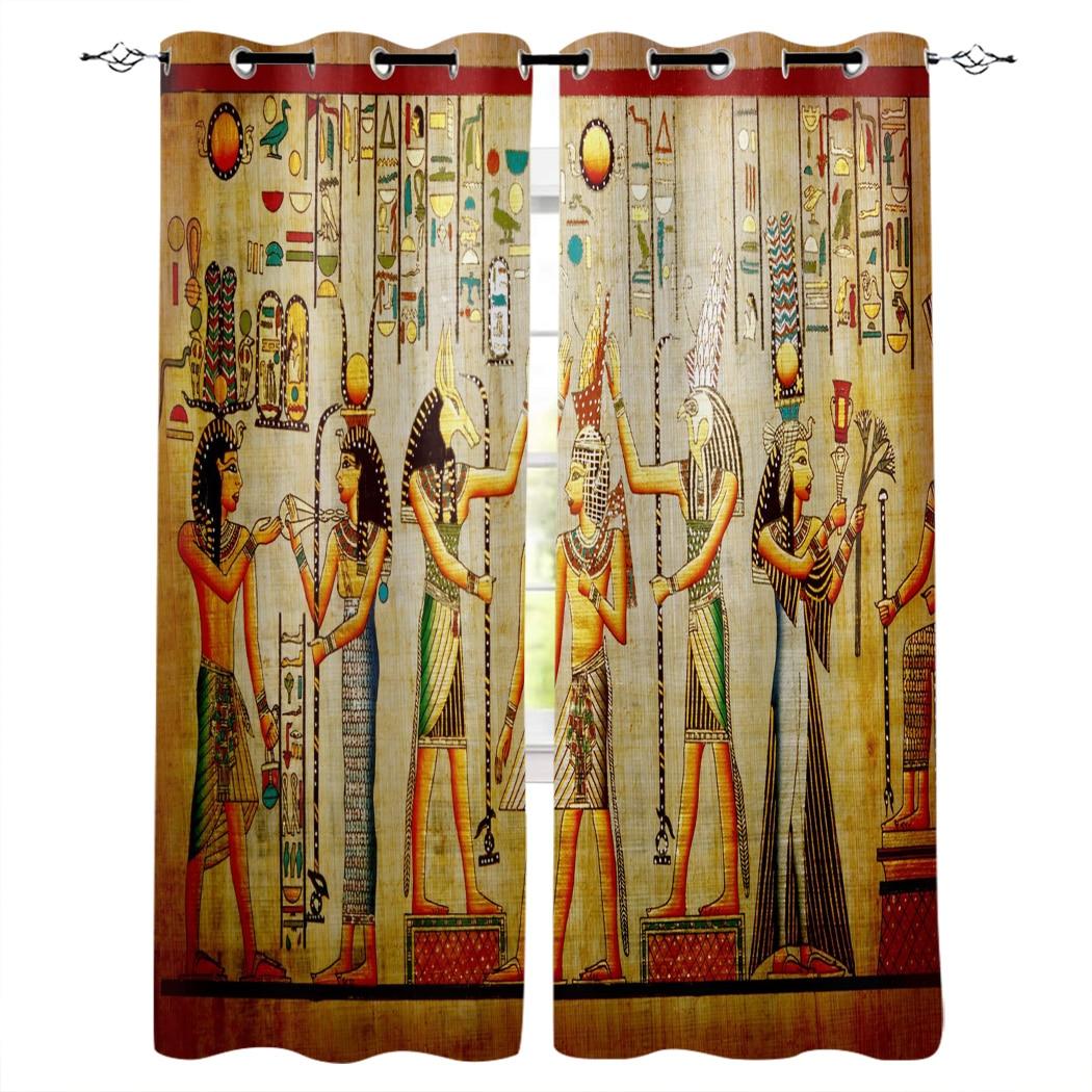 ستائر نافذة مطبوعة على الطراز المصري ، دائرة ريترو ، لغرفة المعيشة وغرفة النوم ، قماش البوليستر ، ديكور المنزل