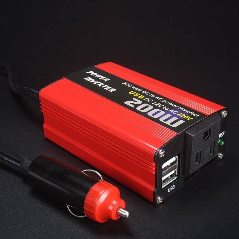 Автомобильный преобразователь напряжения 200 Вт от 12 В до 110 В/220 В переменного тока, USB автомобильный адаптер, автомобильное зарядное устройс...