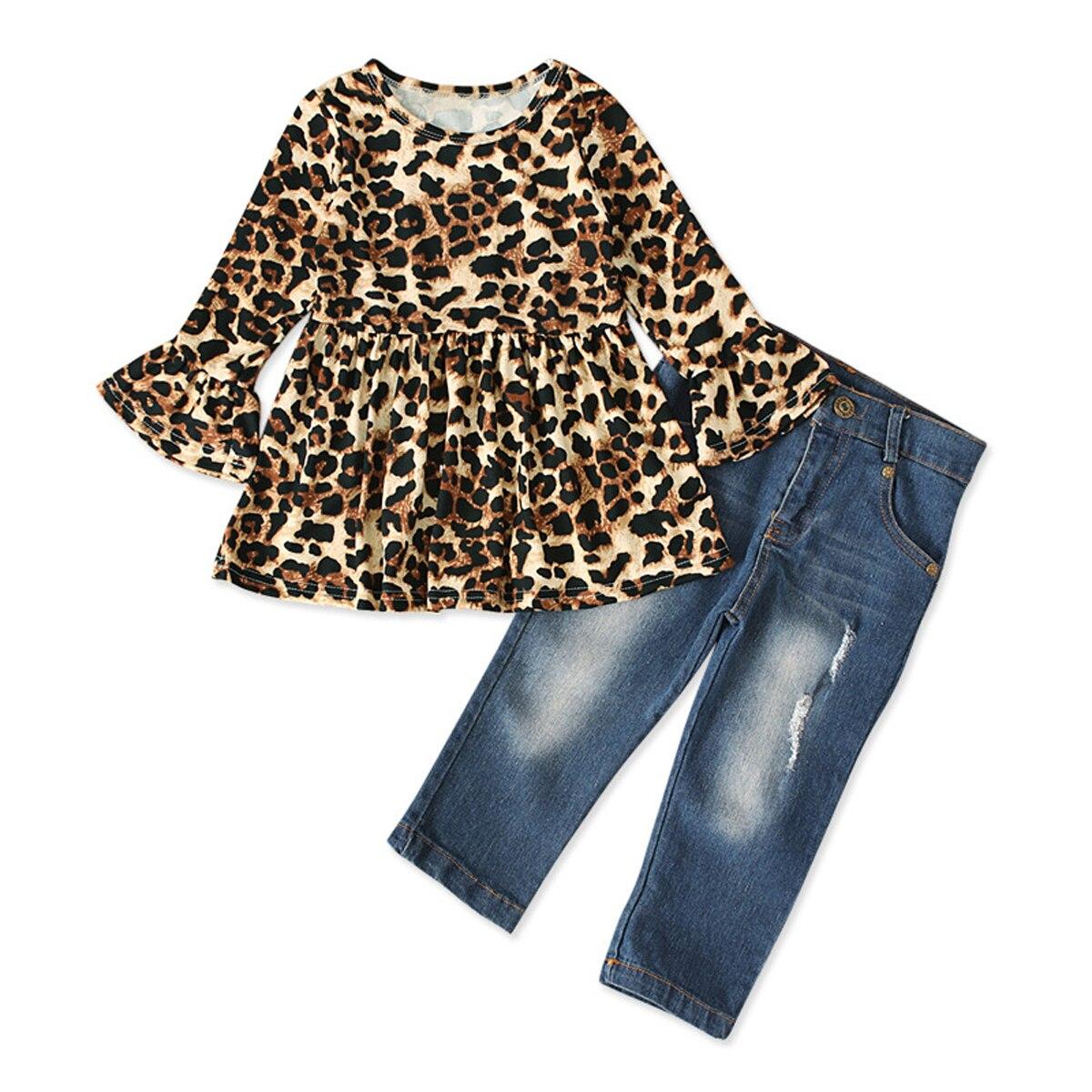 2 pçs conjuntos de roupas da menina do bebê do miúdo 2-7y plissado manga leopardo imprimir topos + calças jeans calças jeans conjuntos de roupas de verão