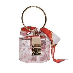 Women Totes Female Shoulder Bags Chain Handbags Round Iron Ring Transparent Jelly Ladies Bucket Bag Brand Designer Top-Handle