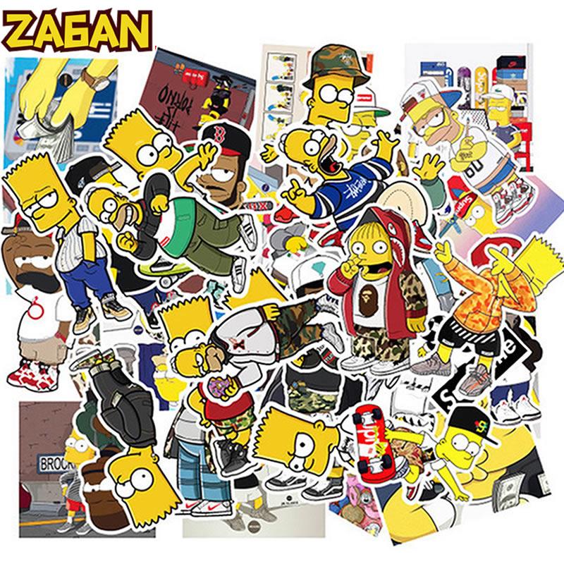 10/30/50 Uds. Dibujos animados Simpsons tickers Skateboard guitarra impermeable maleta Vsco Girl pegatina de Graffiti niños juguetes clásicos