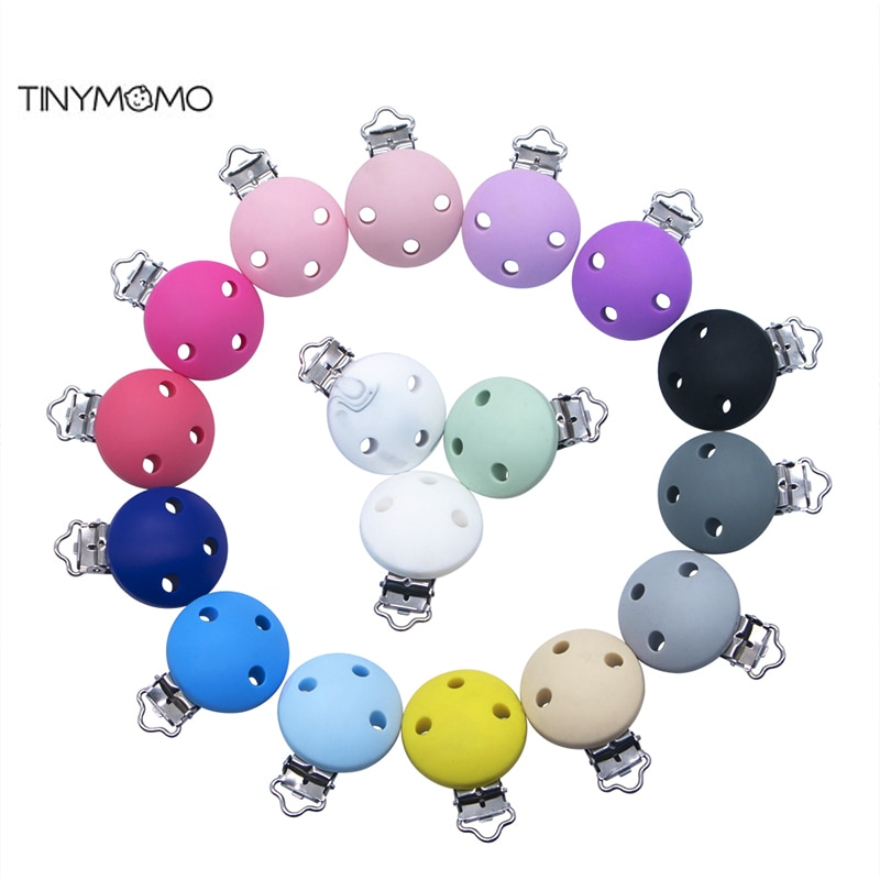 10 PCS DIY Silicone Round Clip Baby Nursing Teething Solid Color Silicone Soother Clips BPA Free Pacifier Chain Accessory