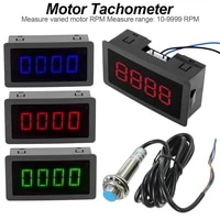 new 24v measuring gauge 4 digital bluegreenred led tachometer rpm speed meter 10 9999rpm hall proximity switch sensor npn