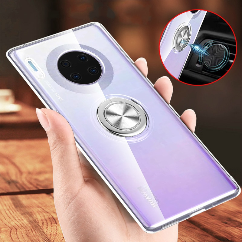 Transparent Ring Case For Huawei Mate 30 20 20X Pro Lite Case Holder Back Cover For Huawei P30 Lite