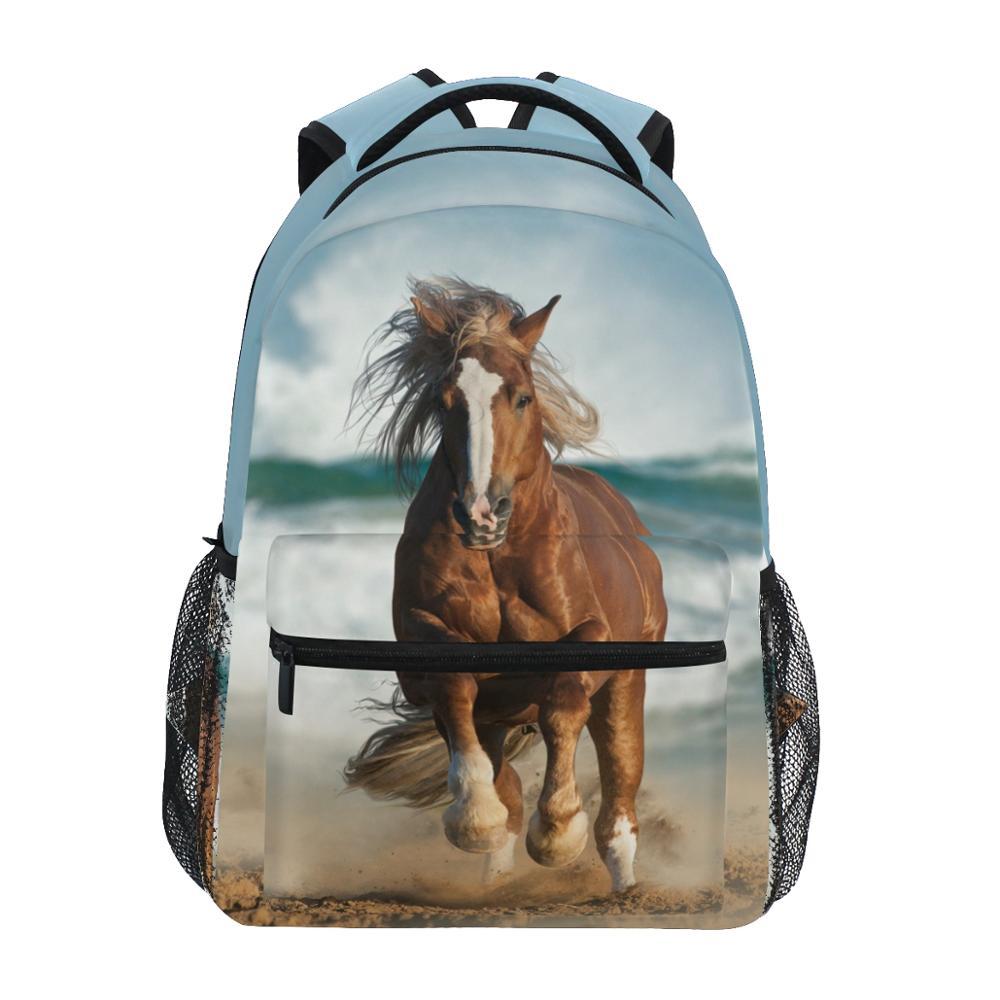 ألازا-حقيبة ظهر مدرسية مقاومة للماء للأولاد ، حقيبة ظهر مدرسية بطبعة حصان للأولاد ، حقيبة كمبيوتر محمول للبنات ، حقيبة مدرسية للمراهقين