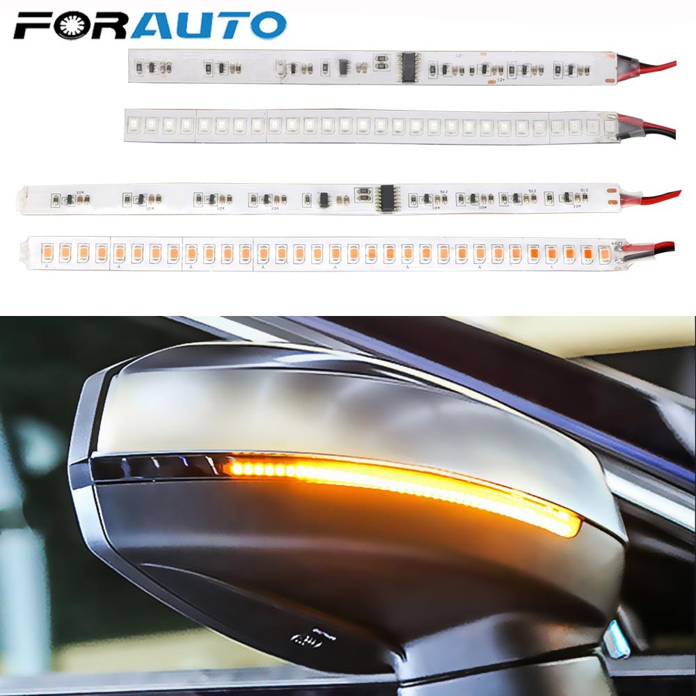 1 par para señal de giro de espejo retrovisor luz para motocicleta Auto señal de giro fluctuante LED tira intermitente coche modificado Streamer Strip