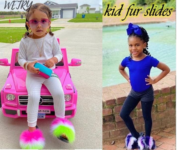 Kids Real Fox Slippers Raccoon Slides Chinelos Menina Slippers Toddler Baby Girls Shoes fox fur slid