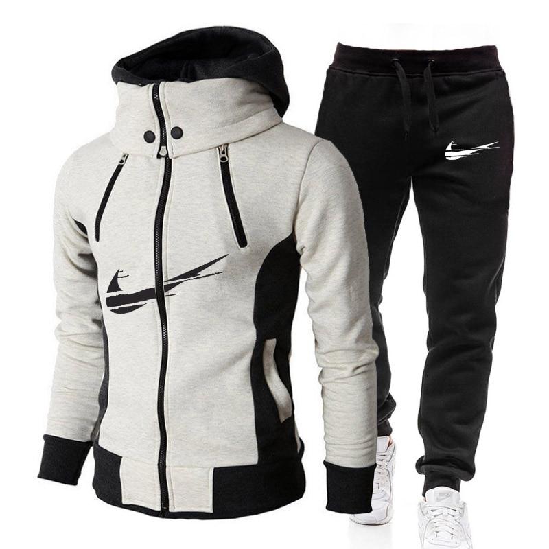 2021 new autumn IМNIKEС Men's Autumn winter Hot Sale Men's Sets Hoodie+pants Two Pieces Sets Casua