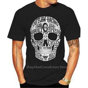 New Arrival Big Skull Biker Outlaw Custom Built For Speed Mens BlackSm - 3XL 2021 Leisure Fashion T-shirt 100% Cotton