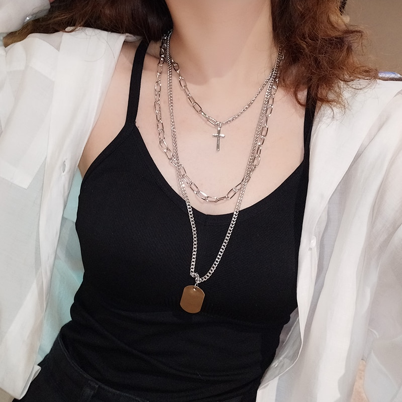 European Hip Hop Trendy Multi-Layer Cross Necklace Men's and Women's Fashion Metal Coin Three-Piece
