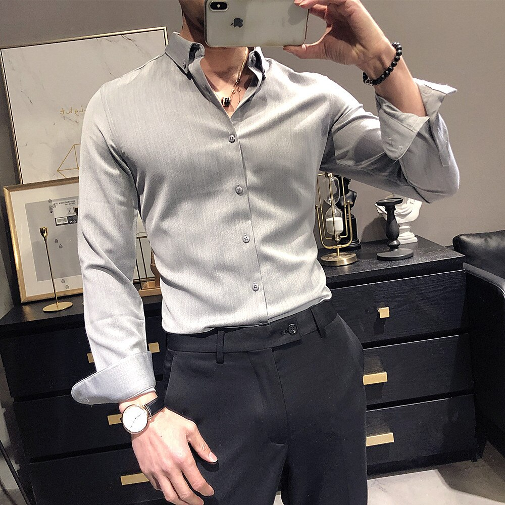 خريف جديد الرجال بلون قميص طويل الأكمام ضئيلة تناسب غير الحديد المهنية الفتيان قميص